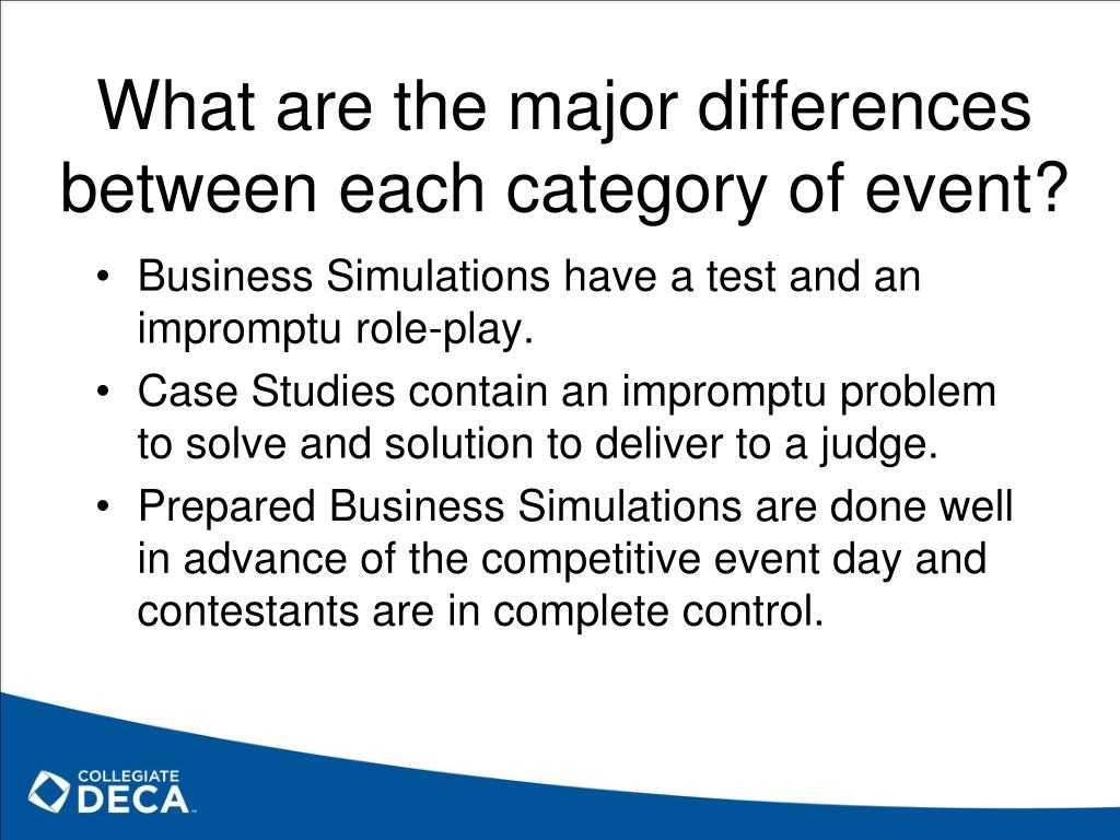 What are the major differences between each category of event?