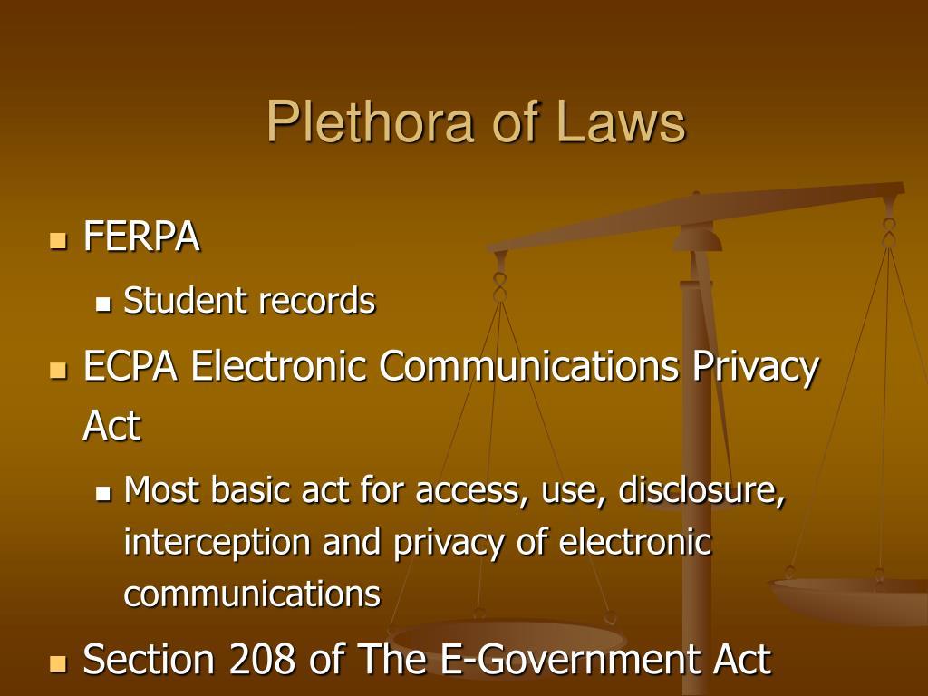 Plethora of Laws