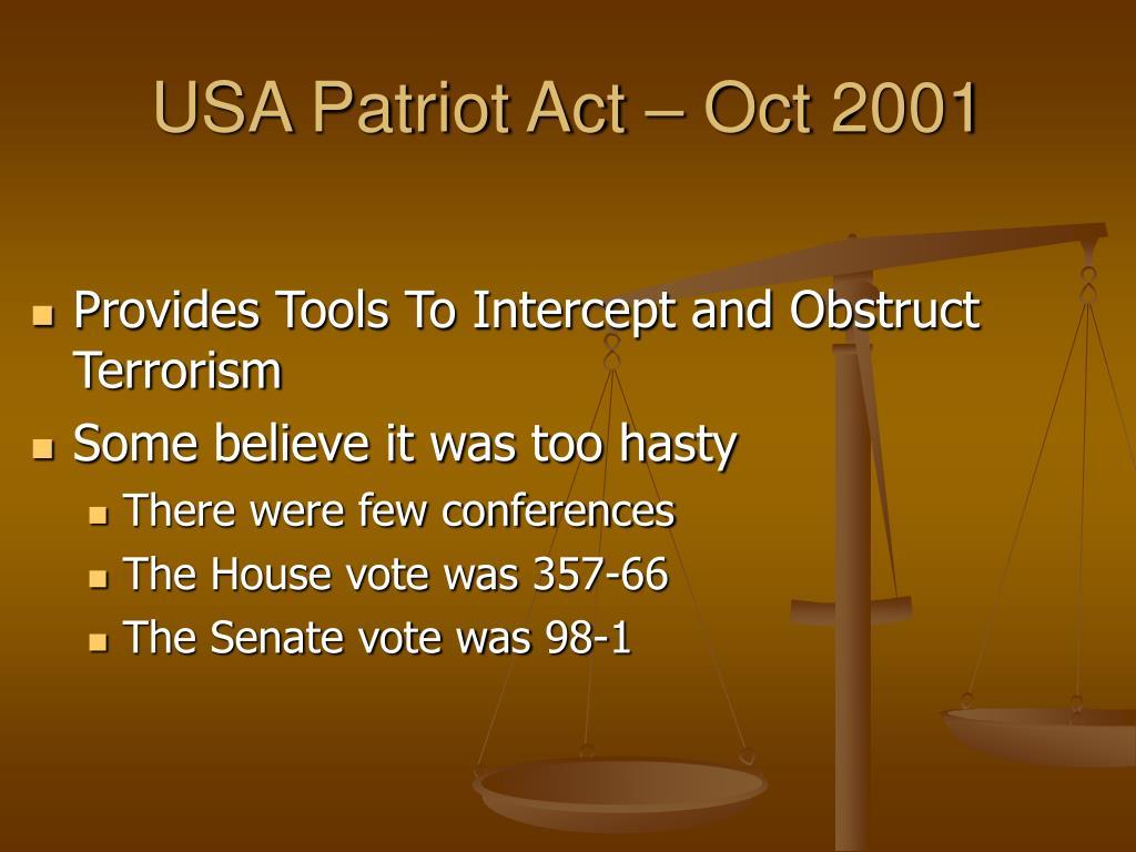 USA Patriot Act – Oct 2001