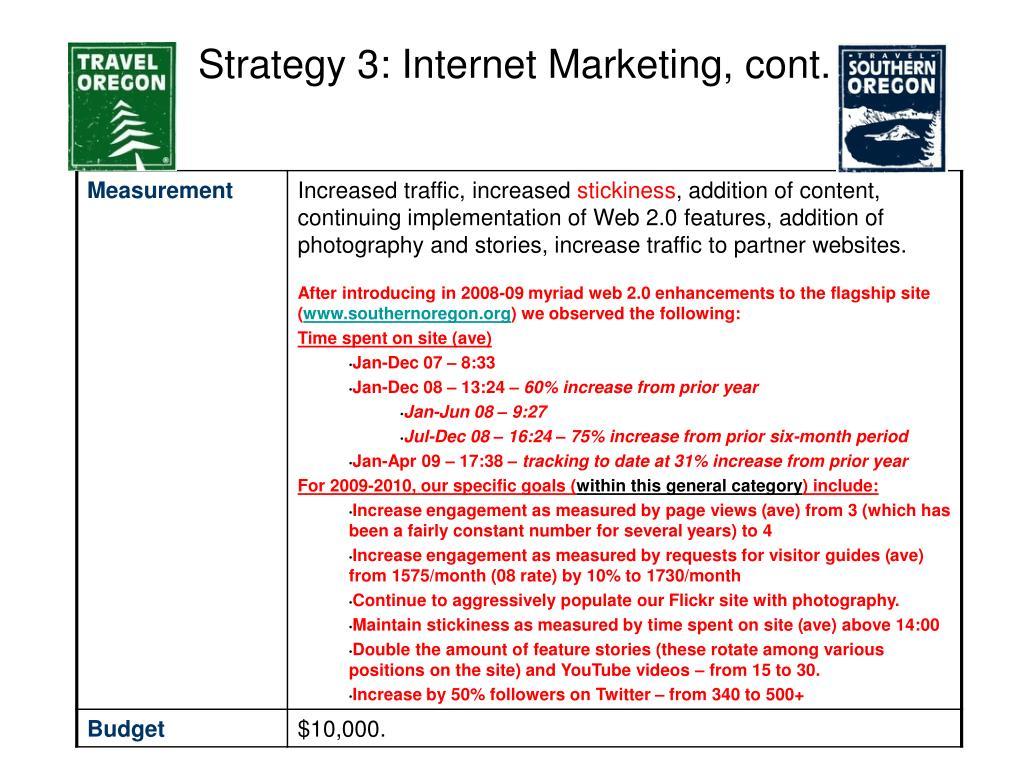 Strategy 3: Internet Marketing, cont.