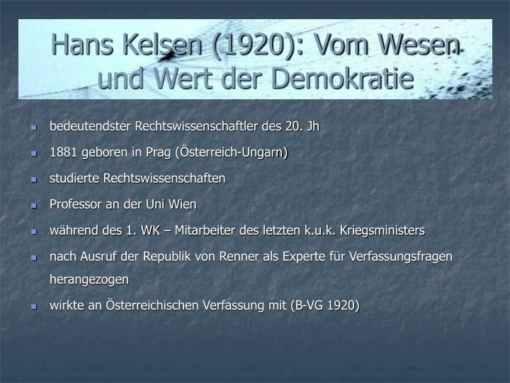 Hans Kelsen (1920): Vom Wesen und Wert der Demokratie