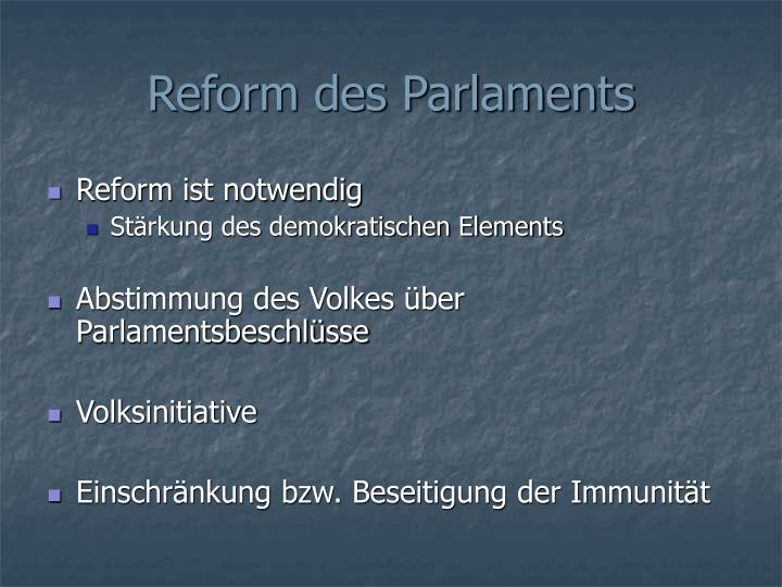 Reform des Parlaments