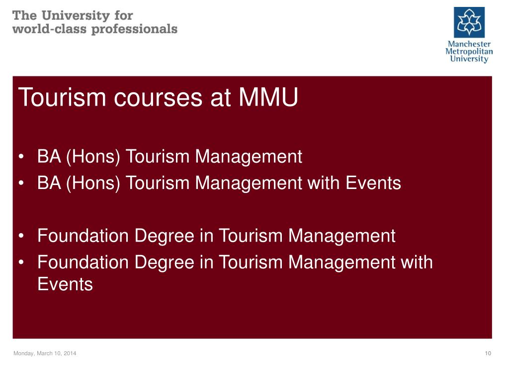 Tourism courses at MMU