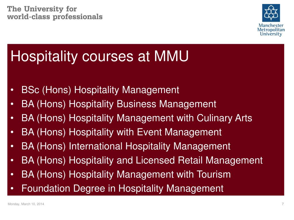 Hospitality courses at MMU