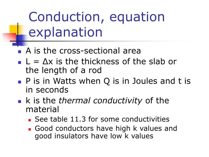 Conduction, equation explanation