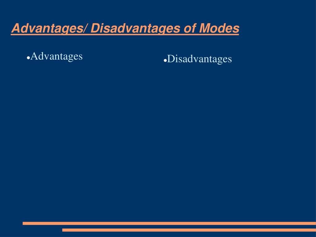 Advantages/ Disadvantages of Modes
