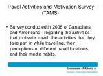 travel activities and motivation survey tams
