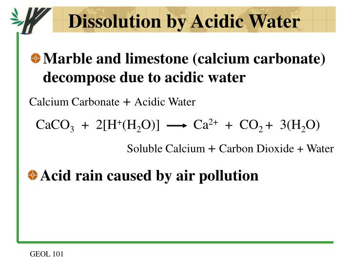 Dissolution by Acidic Water