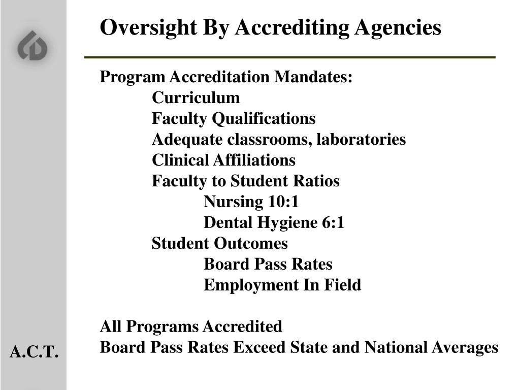 Oversight By Accrediting Agencies
