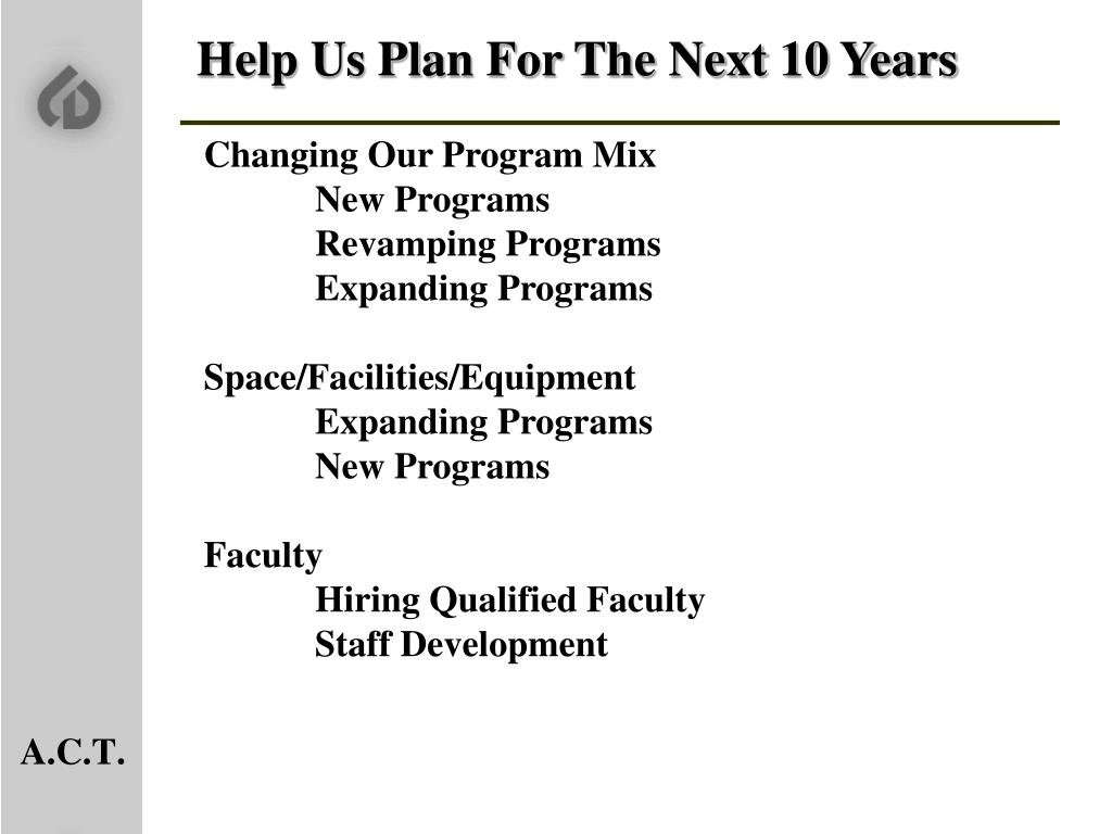 Help Us Plan For The Next 10 Years