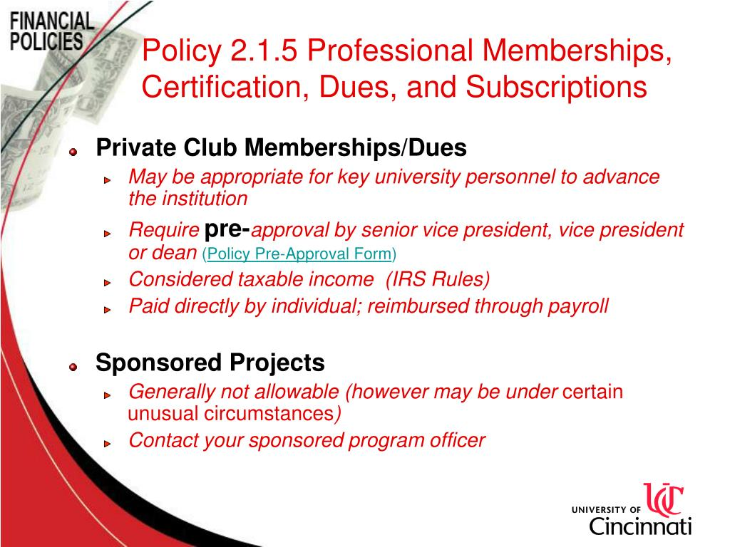 Policy 2.1.5 Professional Memberships, Certification, Dues, and Subscriptions