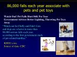 86 000 falls each year associate with pets and pet toys