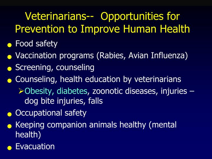 Veterinarians--  Opportunities for Prevention to Improve Human Health