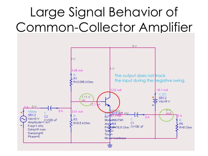 Large Signal Behavior of Common-Collector Amplifier