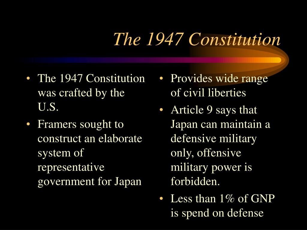 The 1947 Constitution was crafted by the U.S.