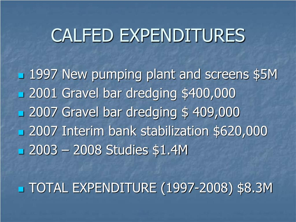 CALFED EXPENDITURES