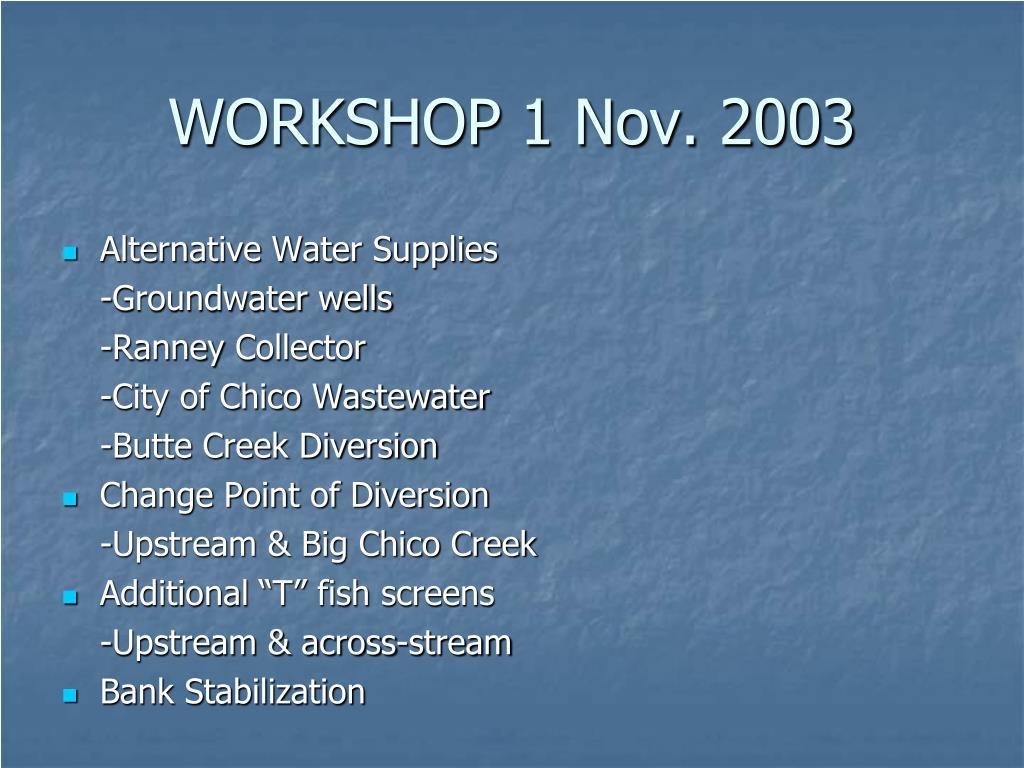 WORKSHOP 1 Nov. 2003