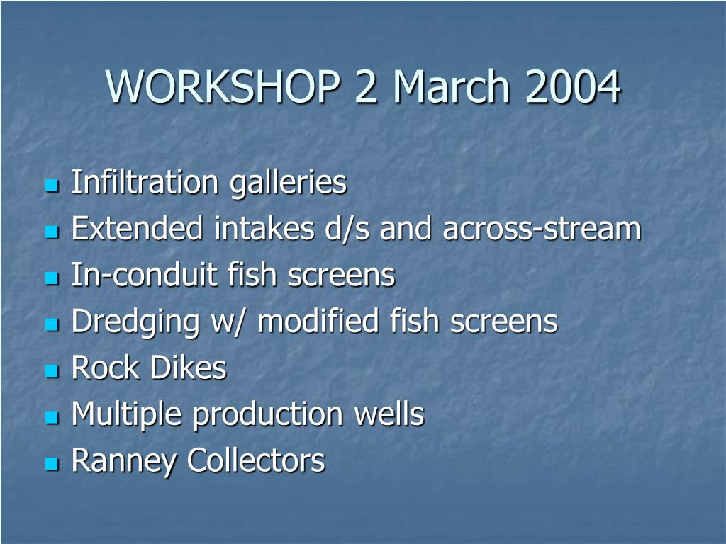 WORKSHOP 2 March 2004