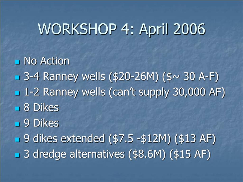 WORKSHOP 4: April 2006