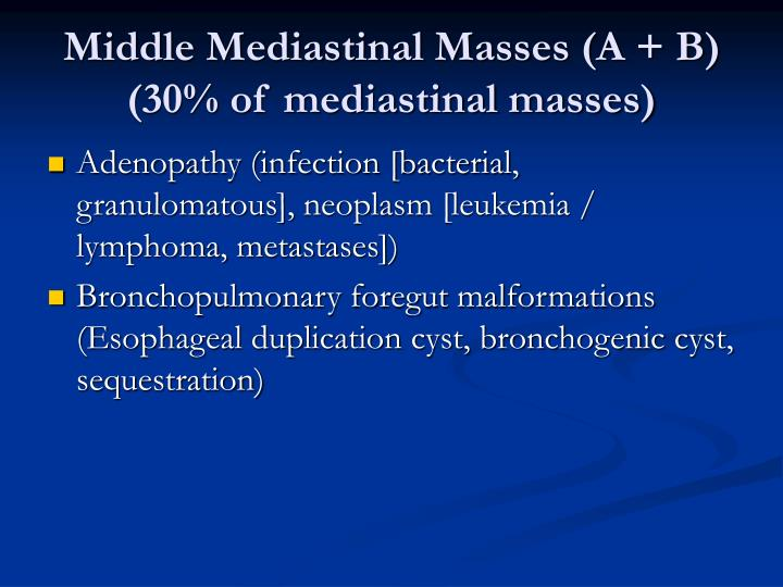 Middle Mediastinal Masses (A + B) (30% of mediastinal masses)