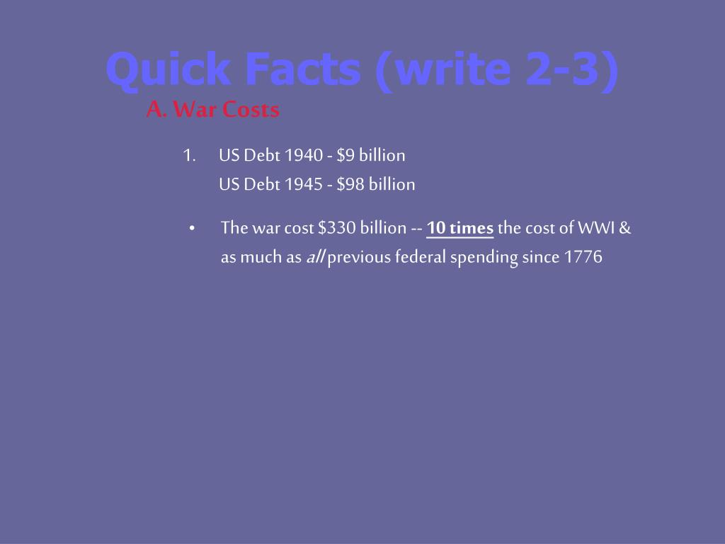 Quick Facts (write 2-3)