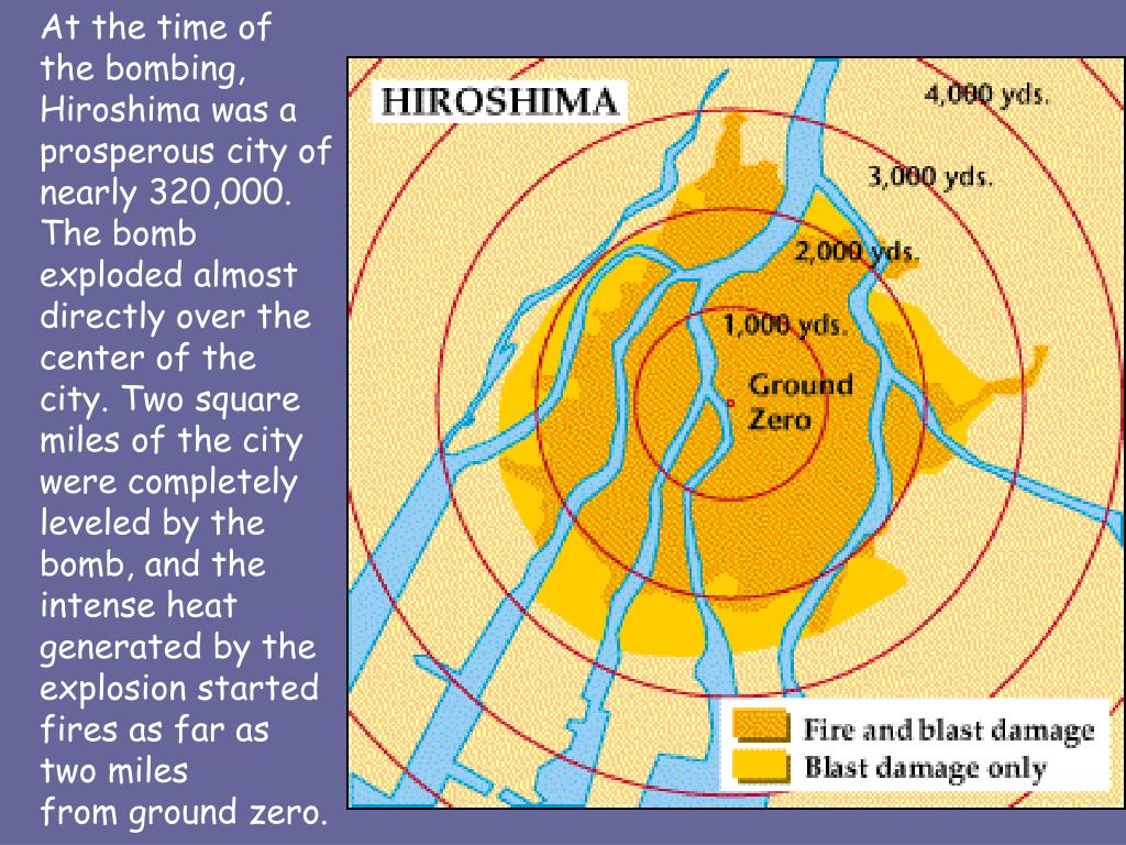 At the time of the bombing, Hiroshima was a prosperous city of nearly 320,000. The bomb exploded almost directly over the center of the city. Two square miles of the city were completely leveled by the bomb, and the intense heat generated by the explosion started fires as far as two miles