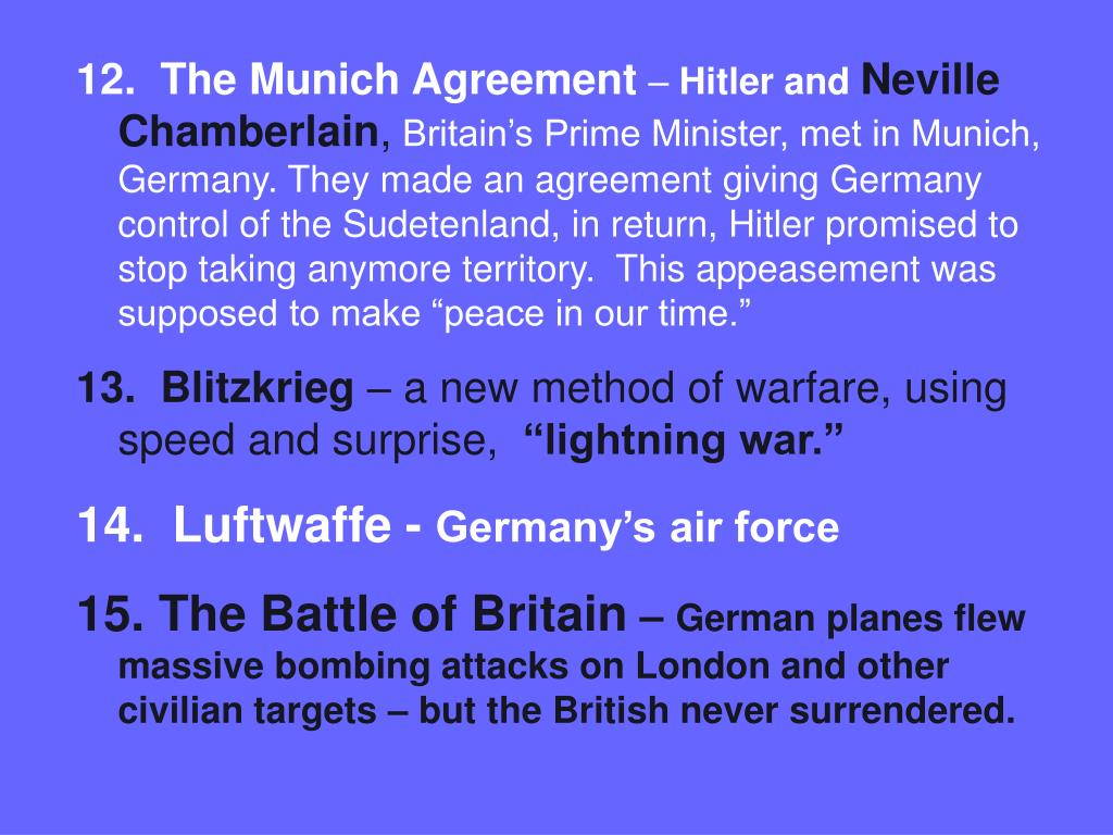 12.  The Munich Agreement