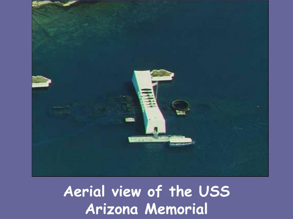 Aerial view of the USS Arizona Memorial