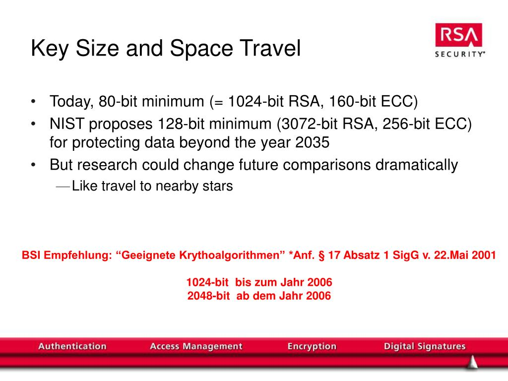 Key Size and Space Travel