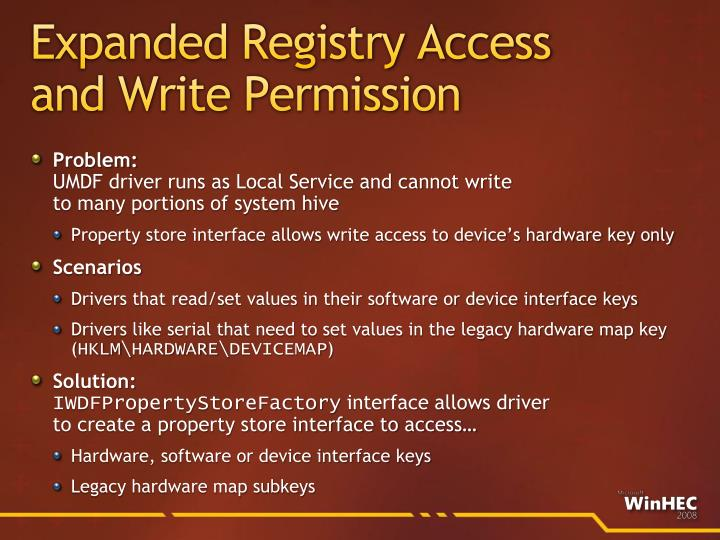 Expanded Registry Access