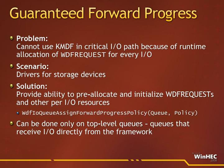 Guaranteed Forward Progress