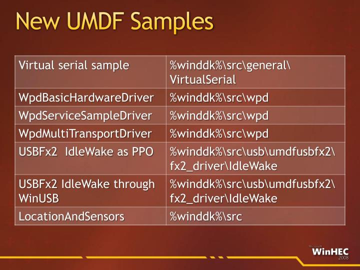 New UMDF Samples