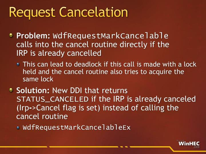 Request Cancelation