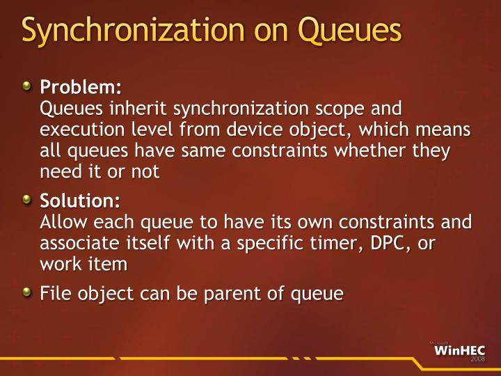 Synchronization on Queues