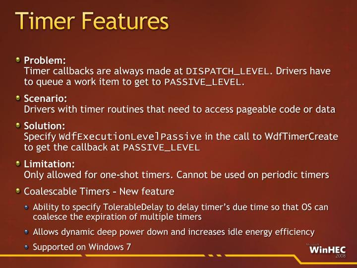 Timer Features