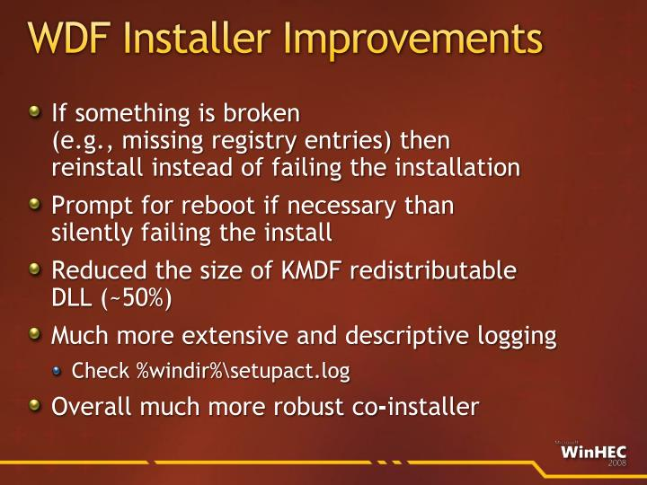 WDF Installer Improvements