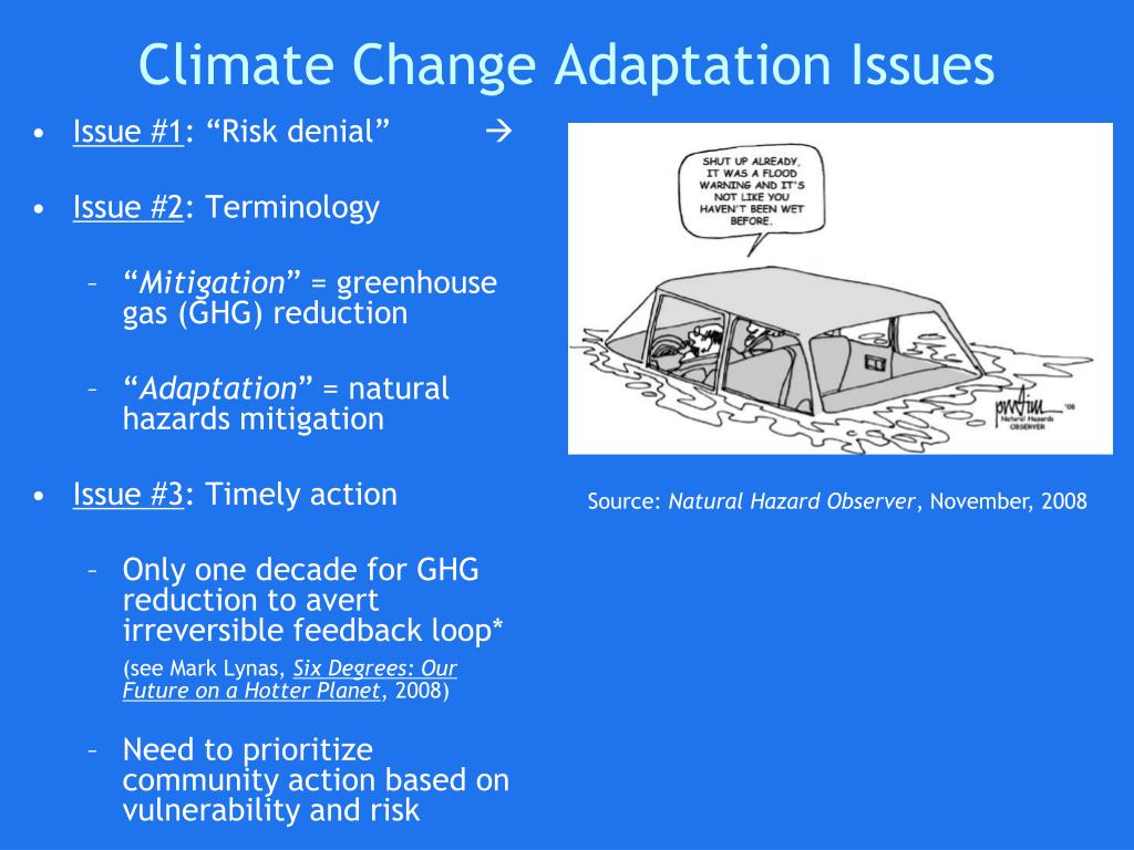 Climate Change Adaptation Issues
