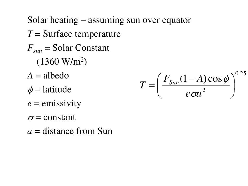 Solar heating – assuming sun over equator