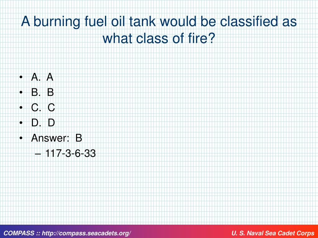 A burning fuel oil tank would be classified as what class of fire?