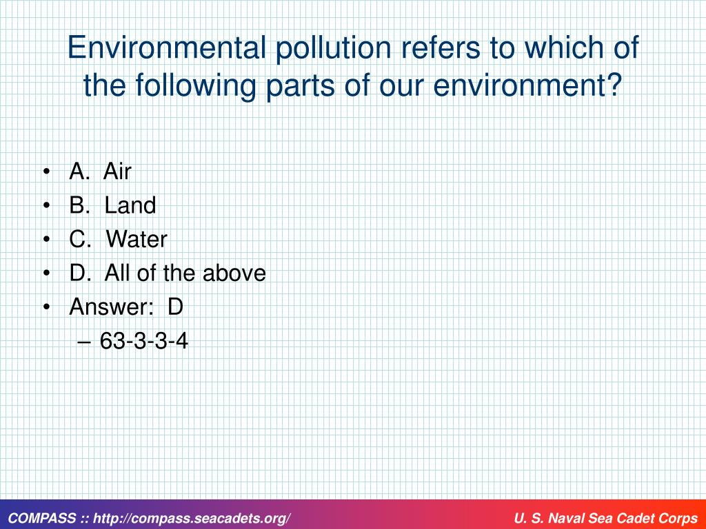 Environmental pollution refers to which of the following parts of our environment?