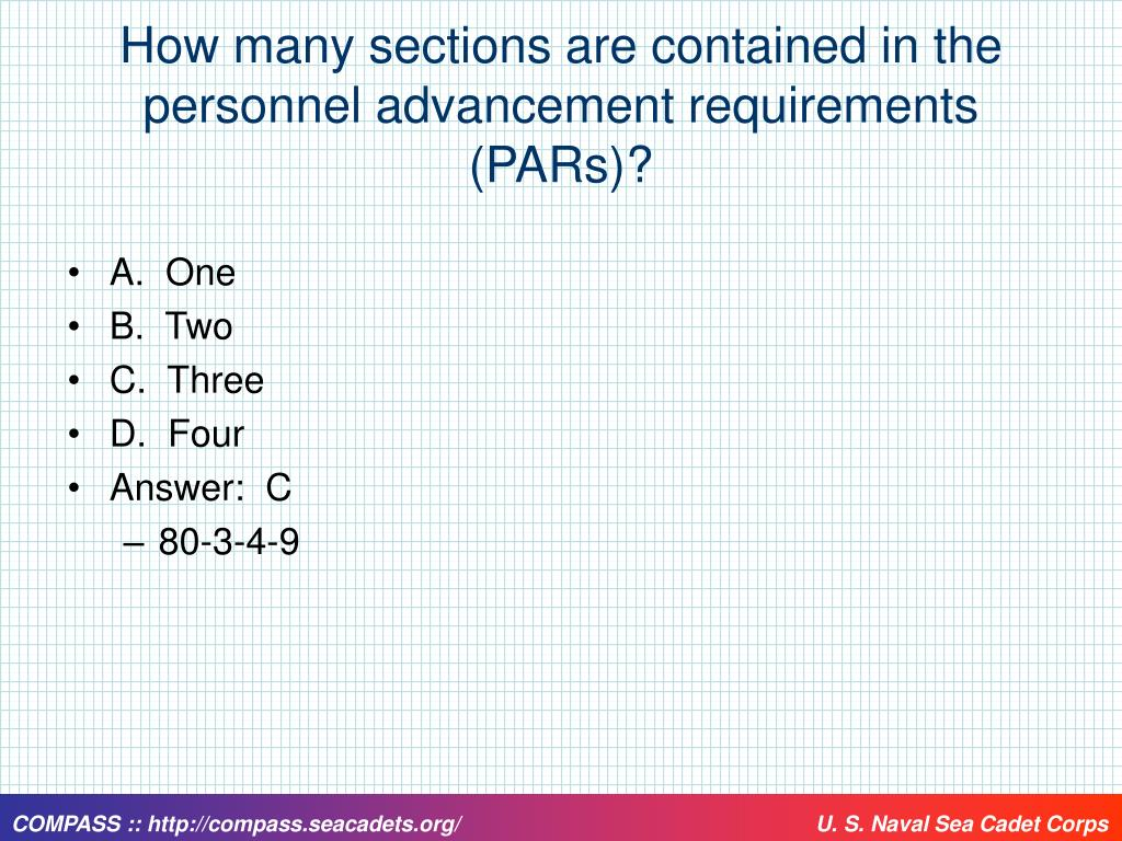 How many sections are contained in the personnel advancement requirements (PARs)?