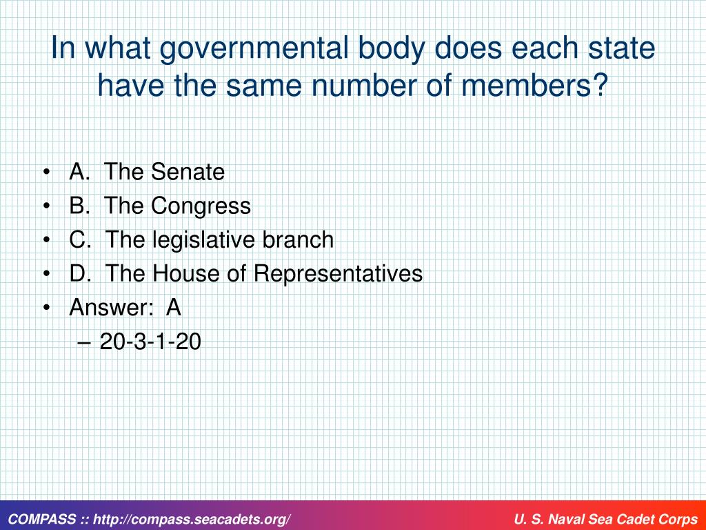 In what governmental body does each state have the same number of members?