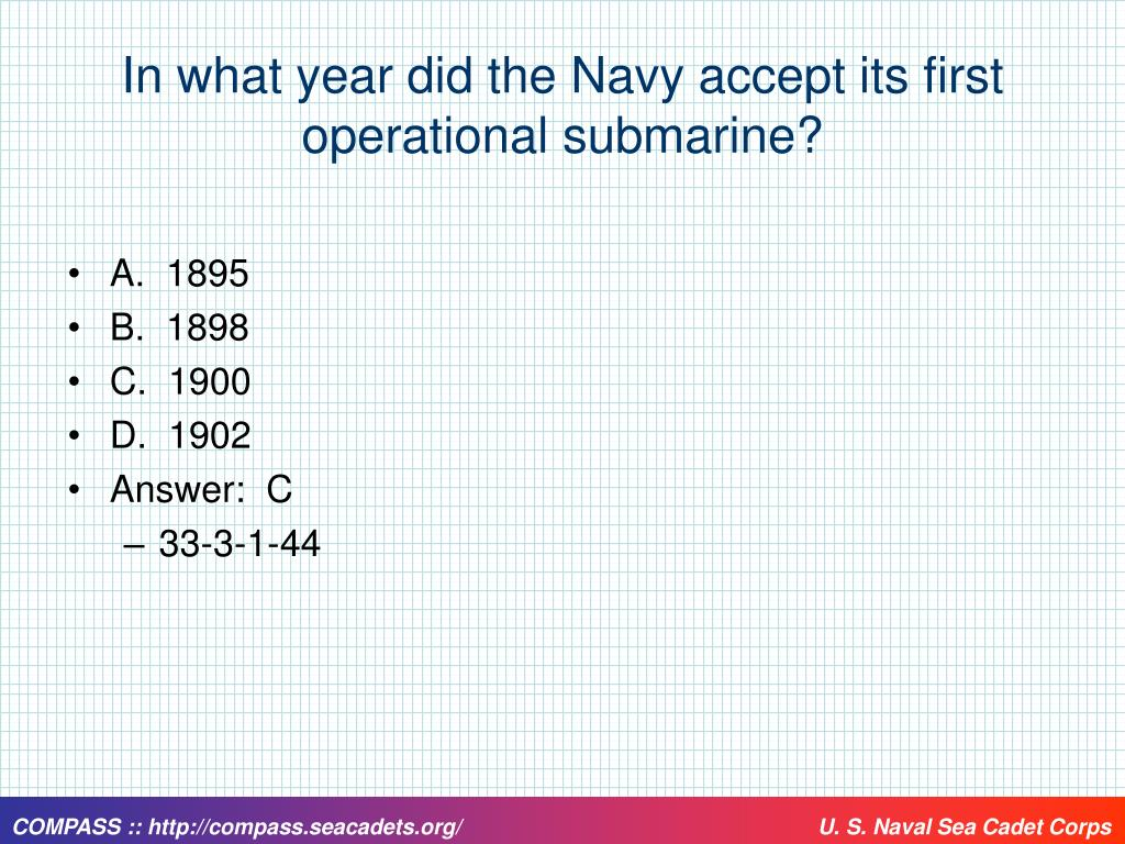 In what year did the Navy accept its first operational submarine?