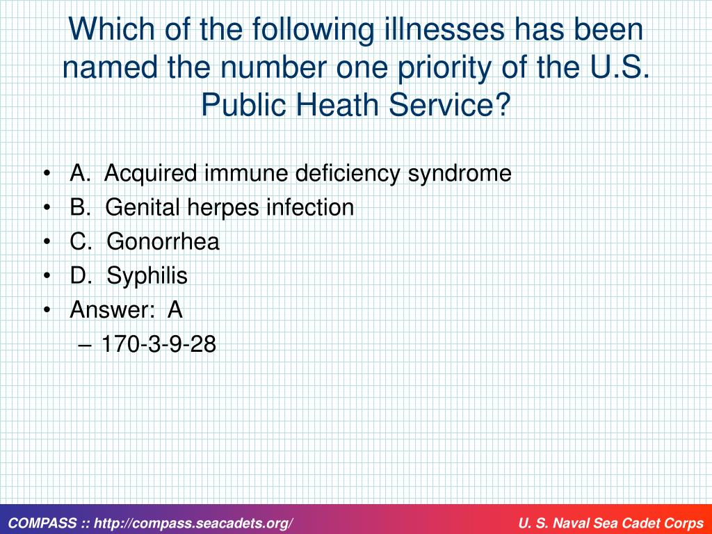 Which of the following illnesses has been named the number one priority of the U.S. Public Heath Service?