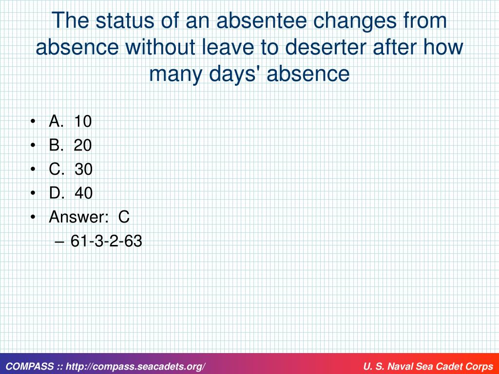 The status of an absentee changes from absence without leave to deserter after how many days' absence