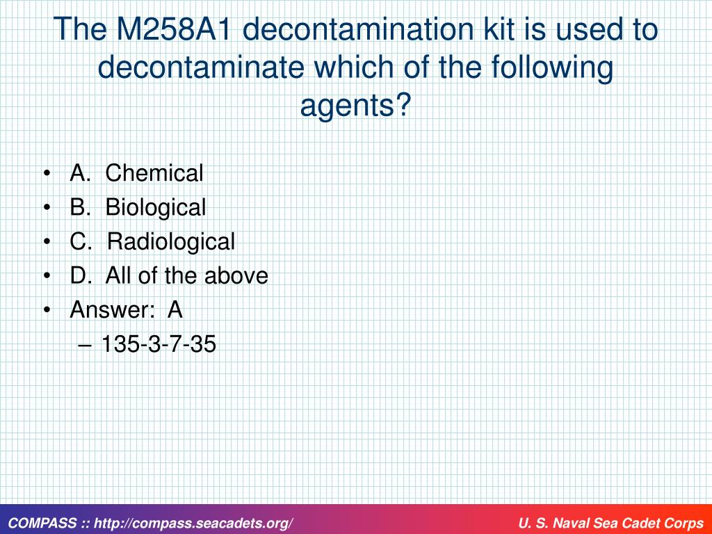 The M258A1 decontamination kit is used to decontaminate which of the following agents?