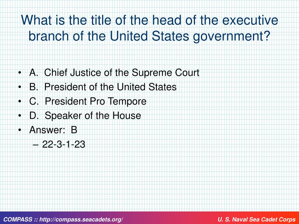 What is the title of the head of the executive branch of the United States government?