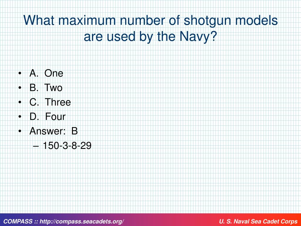 What maximum number of shotgun models are used by the Navy?