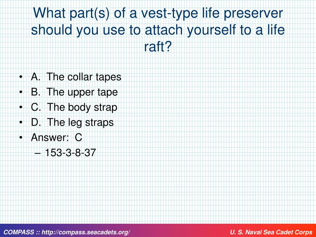 What part(s) of a vest-type life preserver should you use to attach yourself to a life raft?