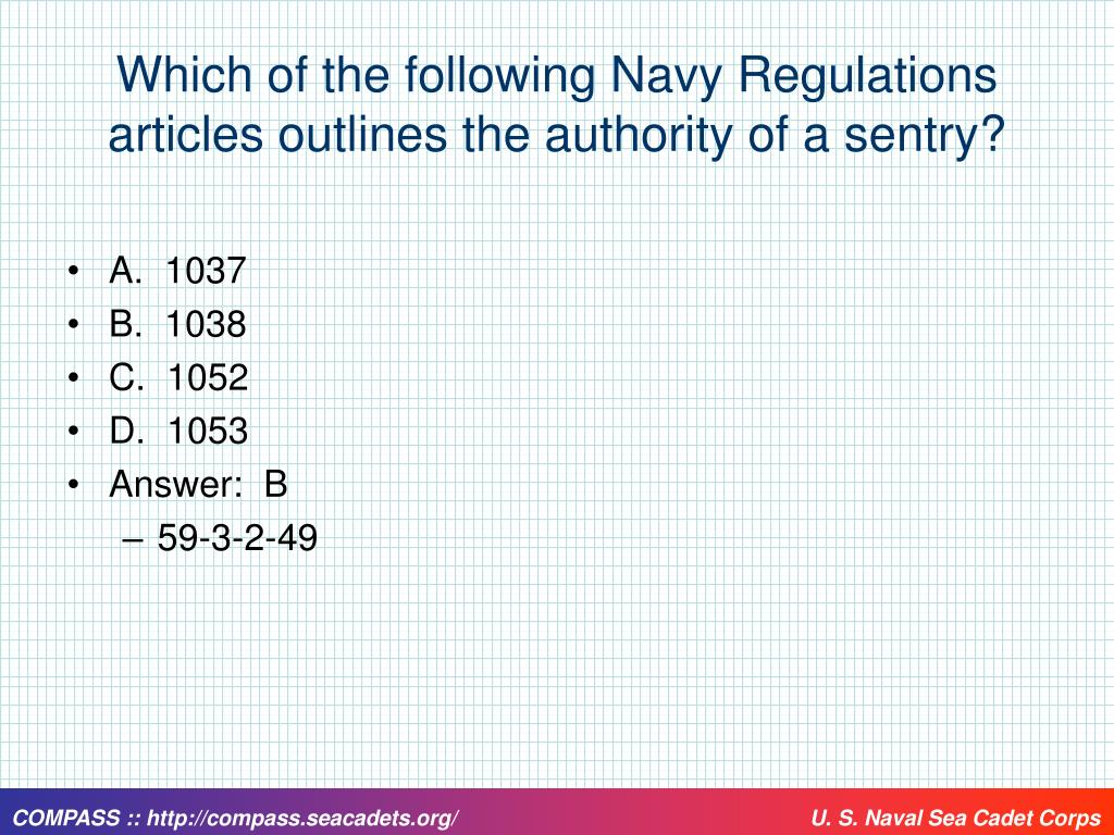 Which of the following Navy Regulations articles outlines the authority of a sentry?
